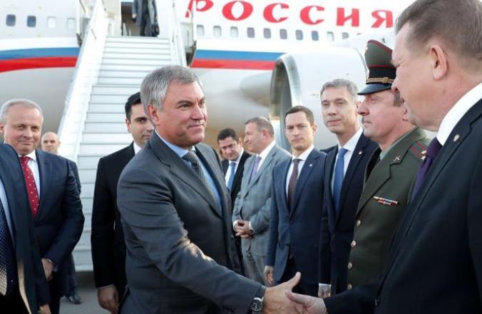 Спикер российской Госдумы прибыл в Армению