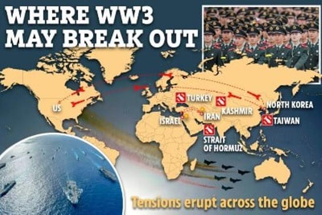 В США нарисовали карту третьей мировой войны